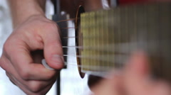 Guitar playing with the pick, video with sound Stock Footage