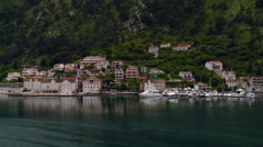 Kotor - Small Port and Village Along Kotor Bay Fjords Stock Footage