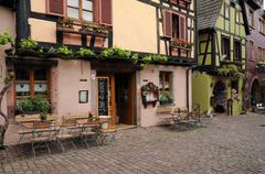 Stock Photo of the small village of Riquewihr in Alsace
