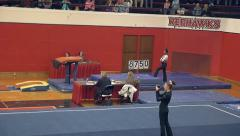 College gymnastics judges score rotating on sign Stock Footage