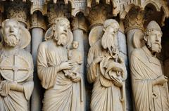 cathedral of Chartres, statues on the porch - stock photo