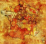 Administrative map of france Stock Illustration