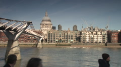 City London St Pauls Millennium Bridge Sunset Wide Stock Footage