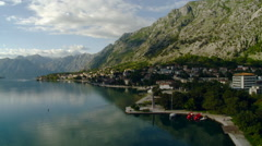 Kotor - Village on Kotor Bay Mountains in Background Stock Footage