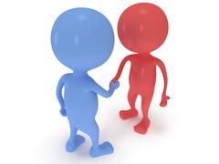 Stock Illustration of 3d two people shake hands.