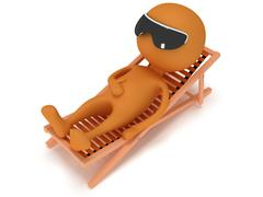 3d man having a rest on chaise lounge. Stock Illustration