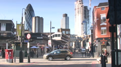 City London Street Skyline Stock Footage