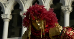 Close up of venetian masks red with feathers Stock Footage