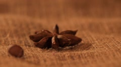 Anise on sacking, and falling coffee beans, close up Stock Footage
