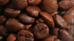 Lot of roasted coffee beans, rotation Stock Footage