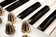 Piano Keys of a modular Synthesizer - stock photo
