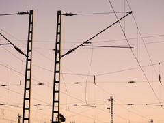 Railway Overhead Wiring -  Power lines Stock Photos
