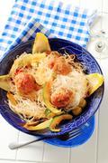 Cellophane noodles with meatballs Stock Photos