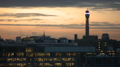 London Skyline Sunset BT tower Stock Footage