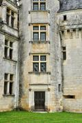 France, renaissance castle of Puyguilhem in Dordogne - stock photo