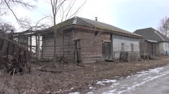 Abandoned building house in old abandoned wooden village in woods, 4k Stock Footage