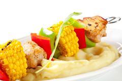 Shish kebab and mashed potato - detail - stock photo