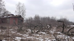 Abandoned building a house in wooden village in central Europe, 4k Stock Footage