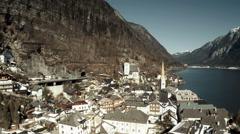 Hallstatt village in aerial view Stock Footage