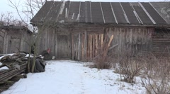 Rural inn at the village end of winter, 4k Stock Footage