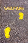Yellow footsteps on sidewalk towards Welfare message.Conceptual image - stock photo