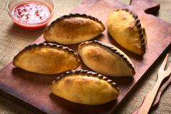Bolivian Saltena Savory Pastries - stock photo