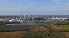 Aerials of Oil Refinery near Port Arthur, Texas in the Gulf of Mexico Stock Footage