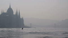 By the water, Distant hazy Parliament & Chain Bridge, Budapest Stock Footage