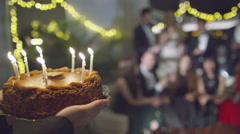 4K Attractive Woman celebrates her Birthday with friends at a party - stock footage
