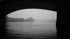 Under Margare Bridge zoom into Parliament & Chain Bridge in Hazy Sunshine - stock footage