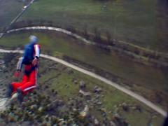 BASE jumping  skydiving from the mountain, subjective camera. Stock Footage