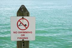 No Swimming Or Fishing Sign - stock photo