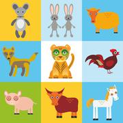 scrap card with animals, seamless pattern. Vector - stock illustration