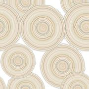 Cross section of tree trunk isolated on white background, seamless pattern.   Stock Illustration