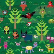 Cute cartoon Monsters seamless pattern on green e background. vector Stock Illustration