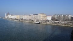 View of Pest and the Hungarian Parliament Building from Chain Bridge - stock footage