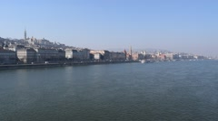 View of Buda from the Chain Bridge over the Danube River in Budapest, Hungary Stock Footage