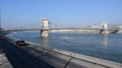 Chain Bridge and traffic from Buda in Budapest, Hungary Stock Footage
