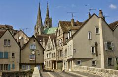 old houses and the cathedral in Chartres - stock photo