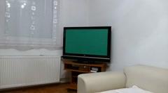 Tv Green Screen Living Room Stock Footage