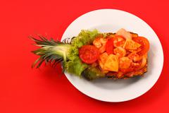Sweet and sour shrimp in pineapple thai style Stock Photos