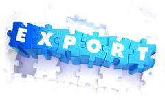 Stock Illustration of Export - Word in Blue Color on Volume  Puzzle