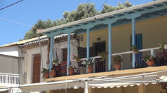 Traditional house for tourist vacation in island port. Greece touristic resort.  Stock Footage