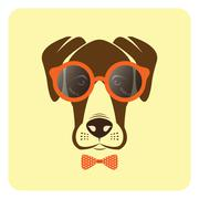 Vector image of dog wearing glasses. Fashion - stock illustration