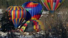 Hot Air Balloons, Balloons, Mountains, Festival, 4K Stock Footage