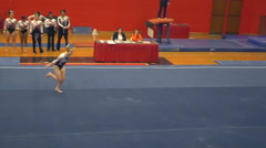 Amazing slow motion floor routine - gymnastics - stock footage