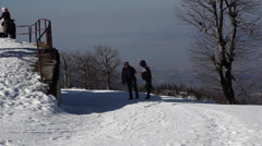 When people are enjoying at the top of the montain in winter season at Kartepe Stock Footage
