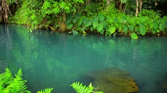 Clear Water of Blue Lagoon in Vang Vieng, Laos Stock Footage