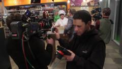 Stock Video Footage of The film crew at work, Filming commercial, behind the scene