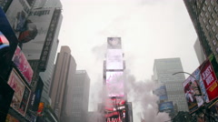 Freezing cold winter Times Square steam people snow 4K Manhattan NYC Stock Footage